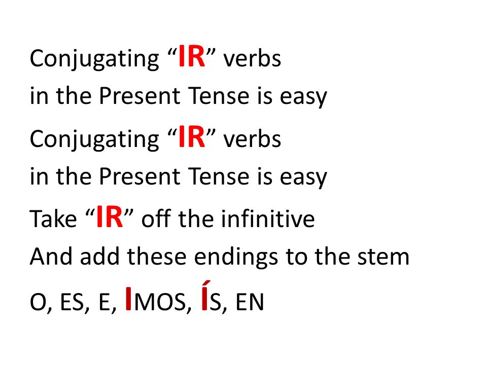 Conjugating IR verbs in the Present Tense is easy Conjugating IR verbs in the Present Tense is easy Take IR off the infinitive And add these endings t