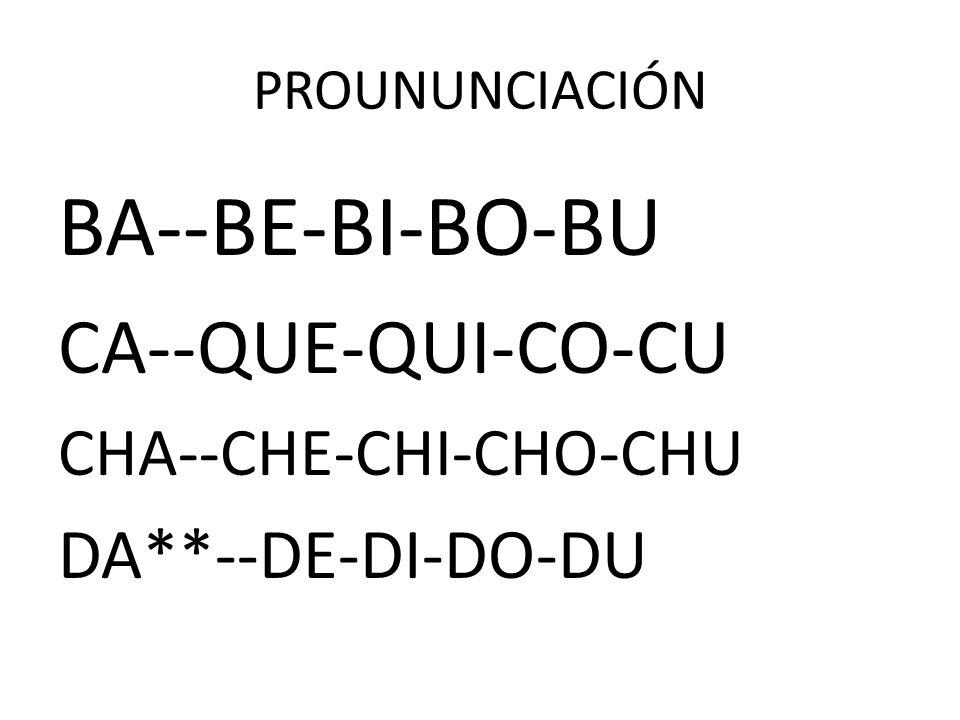 PROUNUNCIACIÓN BA--BE-BI-BO-BU CA--QUE-QUI-CO-CU CHA--CHE-CHI-CHO-CHU DA**--DE-DI-DO-DU