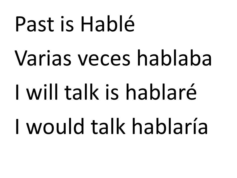 The IB Spanish Anthem Past is hablé Varias veces hablaba I will talk is hablaré I would talk hablaría I have talked he hablado To show doubt is hable or hablara