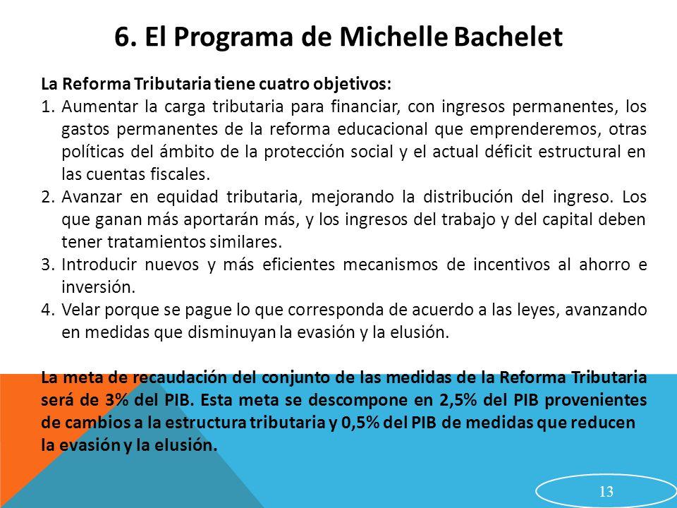 13 6. El Programa de Michelle Bachelet La Reforma Tributaria tiene cuatro objetivos: 1.Aumentar la carga tributaria para financiar, con ingresos perma