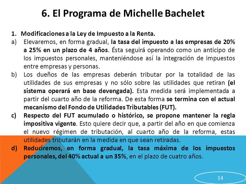14 6. El Programa de Michelle Bachelet 1.Modificaciones a la Ley de Impuesto a la Renta. a)Elevaremos, en forma gradual, la tasa del impuesto a las em