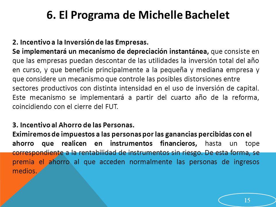 15 6. El Programa de Michelle Bachelet 2. Incentivo a la Inversión de las Empresas. Se implementará un mecanismo de depreciación instantánea, que cons