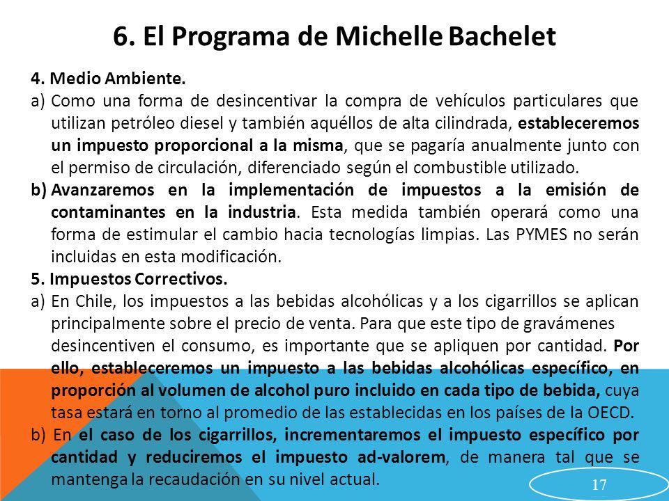 17 6. El Programa de Michelle Bachelet 4. Medio Ambiente. a)Como una forma de desincentivar la compra de vehículos particulares que utilizan petróleo