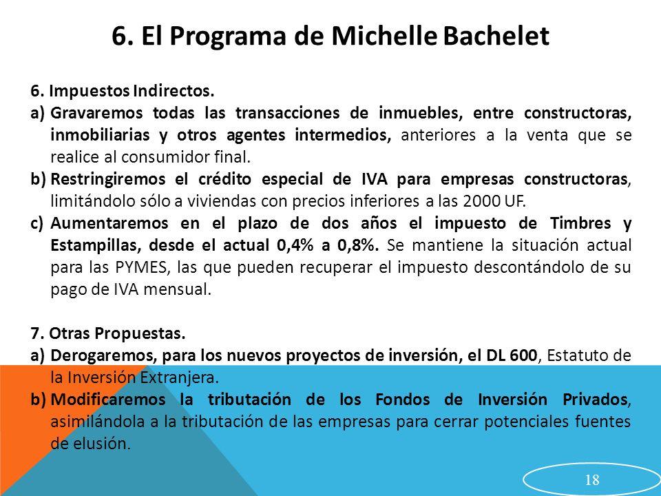 18 6. El Programa de Michelle Bachelet 6. Impuestos Indirectos. a)Gravaremos todas las transacciones de inmuebles, entre constructoras, inmobiliarias