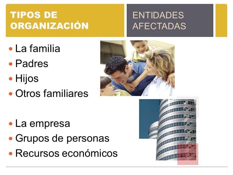 TIPOS DE ORGANIZACIÓN La familia Padres Hijos Otros familiares La empresa Grupos de personas Recursos económicos ENTIDADES AFECTADAS