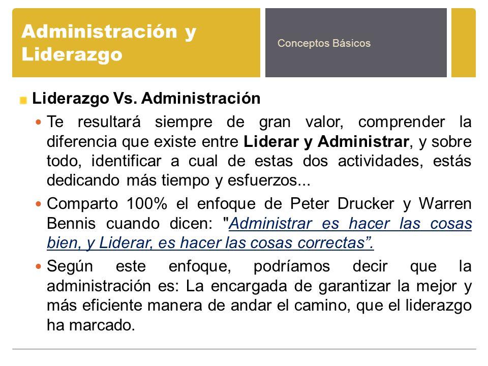 Administración y Liderazgo Liderazgo Vs. Administración Te resultará siempre de gran valor, comprender la diferencia que existe entre Liderar y Admini