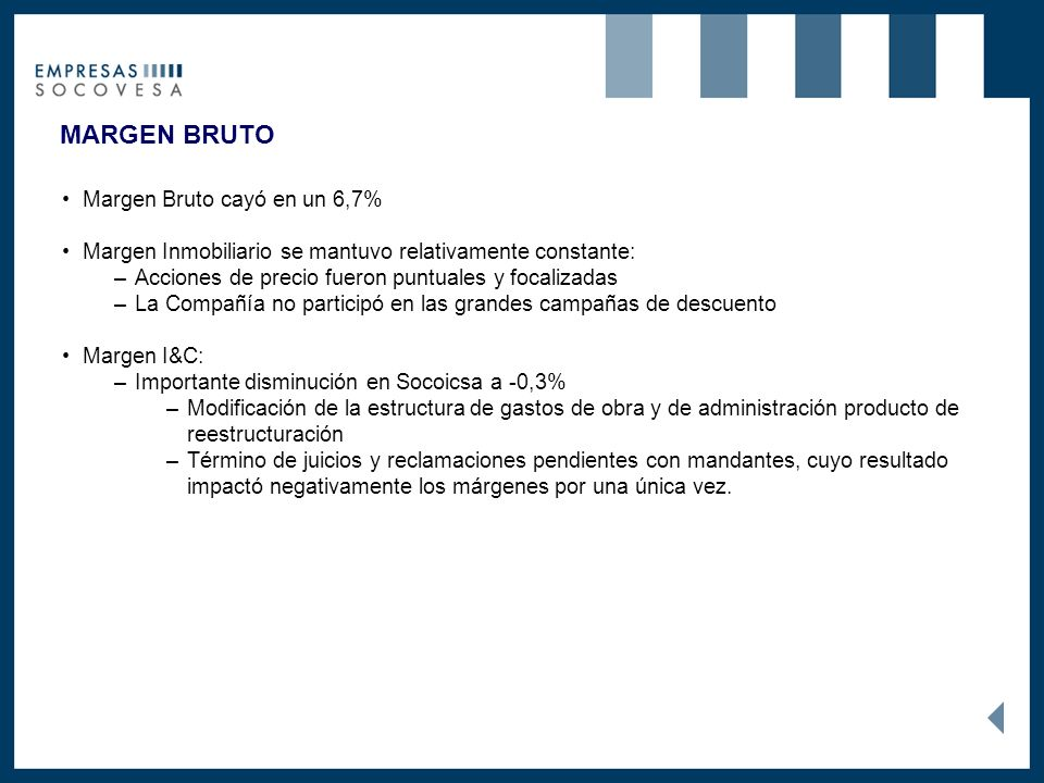 MARGEN BRUTO Margen Bruto cayó en un 6,7% Margen Inmobiliario se mantuvo relativamente constante: –Acciones de precio fueron puntuales y focalizadas –