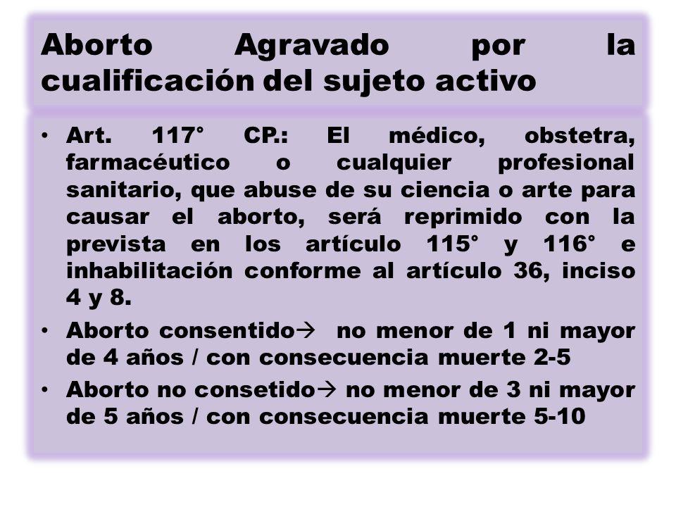 Aborto Agravado por la cualificación del sujeto activo Art.