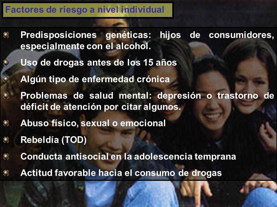 Factores de riesgo a nivel individual Predisposiciones genéticas: hijos de consumidores, especialmente con el alcohol.