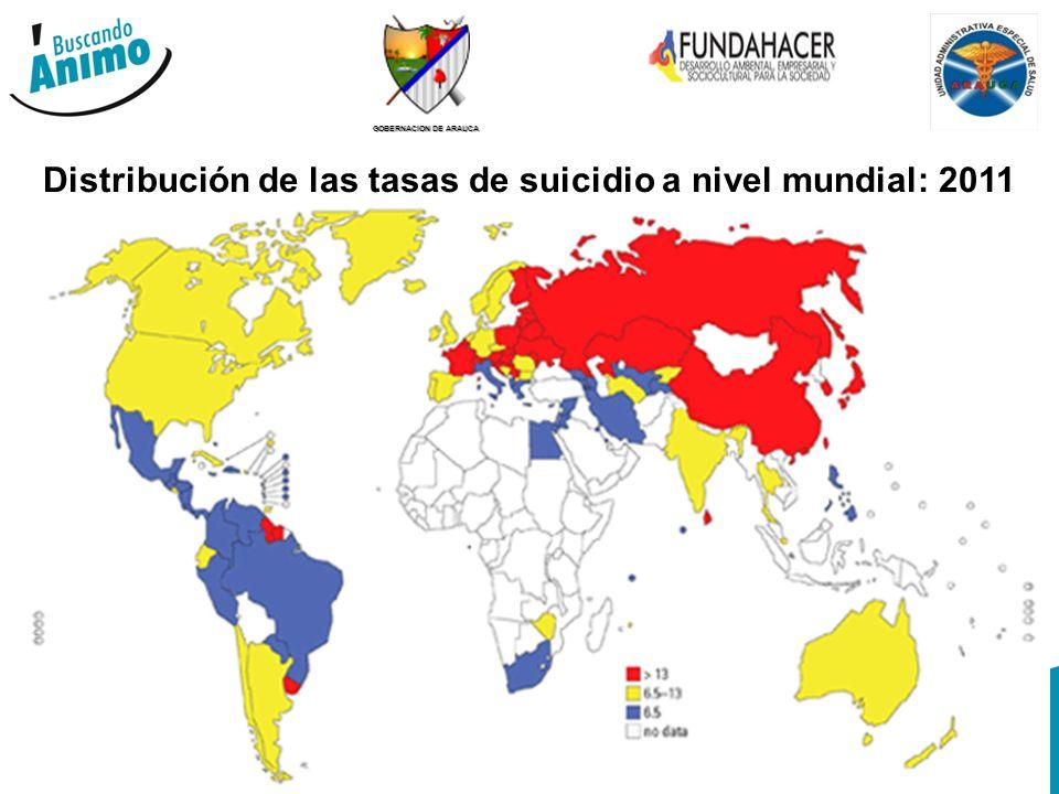 Distribución de las tasas de suicidio a nivel mundial: 2011
