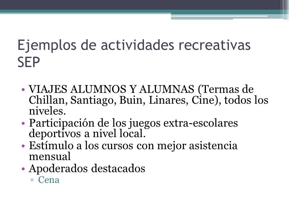 Ejemplos de actividades recreativas SEP VIAJES ALUMNOS Y ALUMNAS (Termas de Chillan, Santiago, Buin, Linares, Cine), todos los niveles.