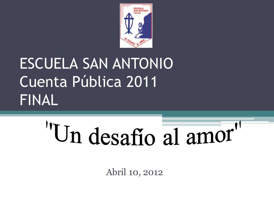 ESCUELA SAN ANTONIO Cuenta Pública 2011 FINAL Abril 10, 2012