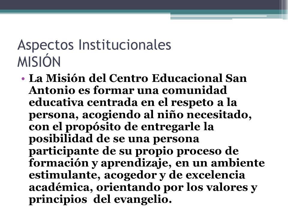 Aspectos Institucionales VISIÓN Propiciar el desarrollo armónico de nuestra escuela, preocupándose por cultivar y mantener los valores de nuestro ideario.