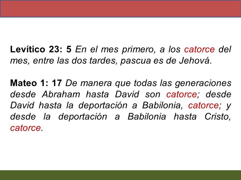 Levítico 23: 5 En el mes primero, a los catorce del mes, entre las dos tardes, pascua es de Jehová. Mateo 1: 17 De manera que todas las generaciones d
