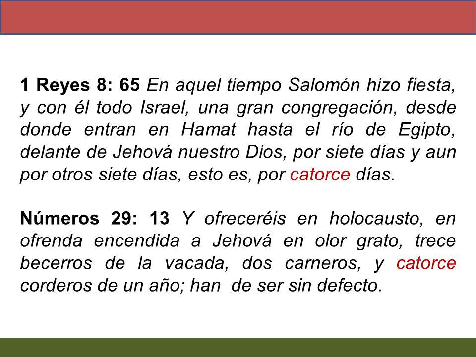 1 Reyes 8: 65 En aquel tiempo Salomón hizo fiesta, y con él todo Israel, una gran congregación, desde donde entran en Hamat hasta el río de Egipto, de