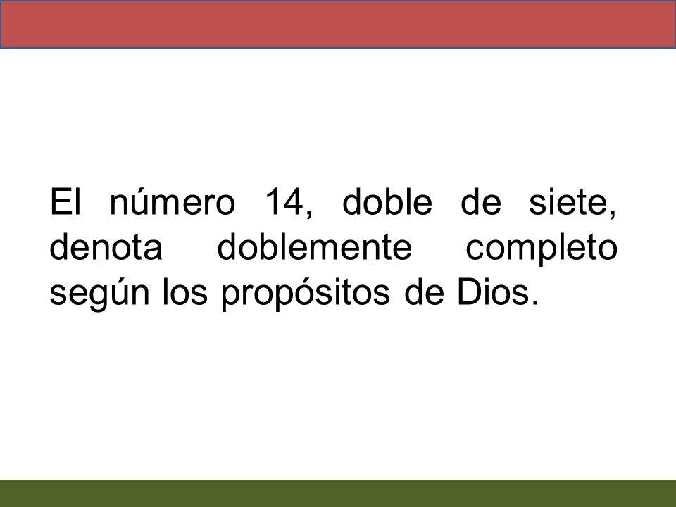 El número 14, doble de siete, denota doblemente completo según los propósitos de Dios.