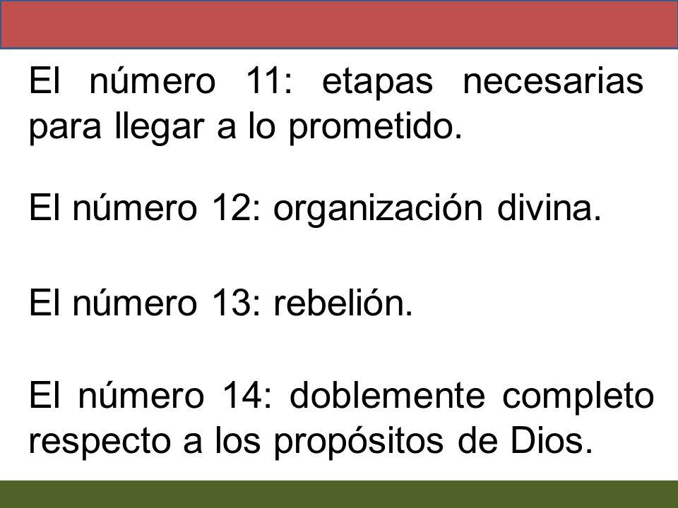El número 12: organización divina. El número 13: rebelión. El número 14: doblemente completo respecto a los propósitos de Dios. El número 11: etapas n