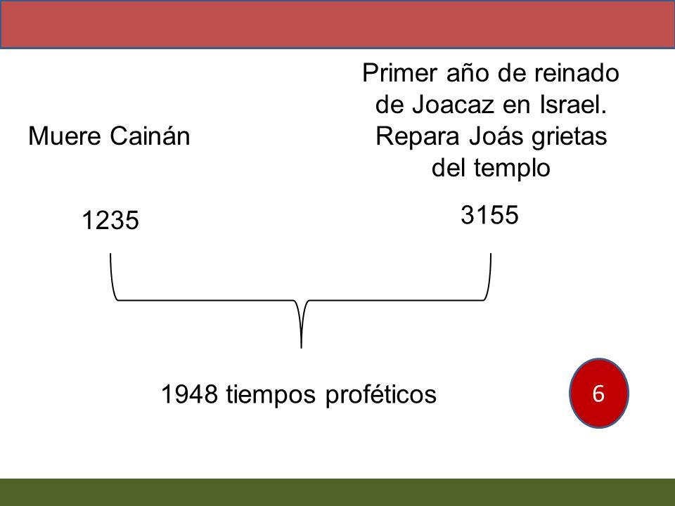 Muere Cainán Primer año de reinado de Joacaz en Israel. Repara Joás grietas del templo 1235 3155 1948 tiempos proféticos 6