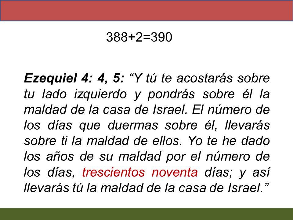 Ezequiel 4: 4, 5: Y tú te acostarás sobre tu lado izquierdo y pondrás sobre él la maldad de la casa de Israel. El número de los días que duermas sobre
