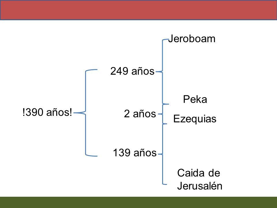 Jeroboam !390 años! Caida de Jerusalén Peka 249 años Ezequias 2 años 139 años