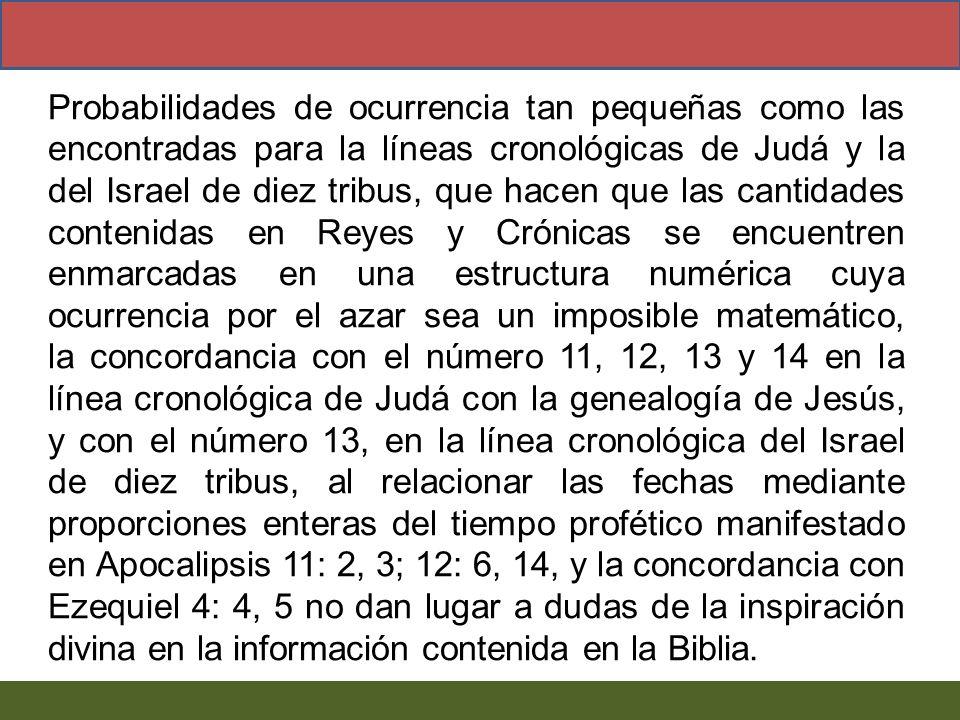 Probabilidades de ocurrencia tan pequeñas como las encontradas para la líneas cronológicas de Judá y la del Israel de diez tribus, que hacen que las c