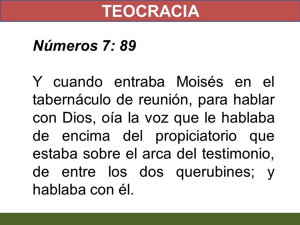 Números 7: 89 Y cuando entraba Moisés en el tabernáculo de reunión, para hablar con Dios, oía la voz que le hablaba de encima del propiciatorio que es