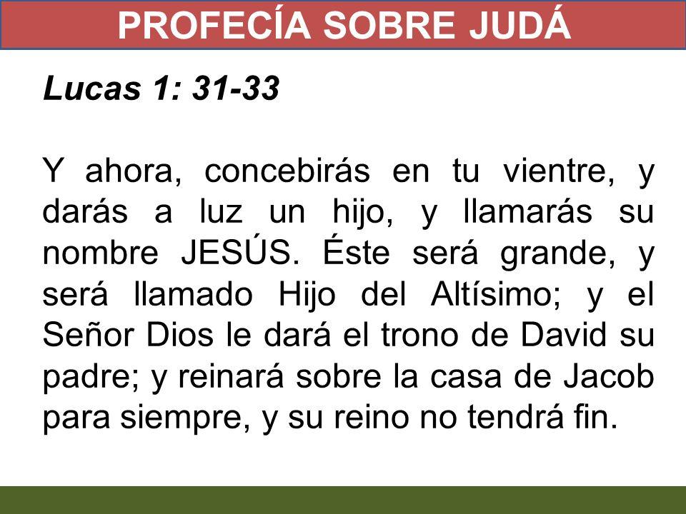 Lucas 1: 31-33 Y ahora, concebirás en tu vientre, y darás a luz un hijo, y llamarás su nombre JESÚS. Éste será grande, y será llamado Hijo del Altísim