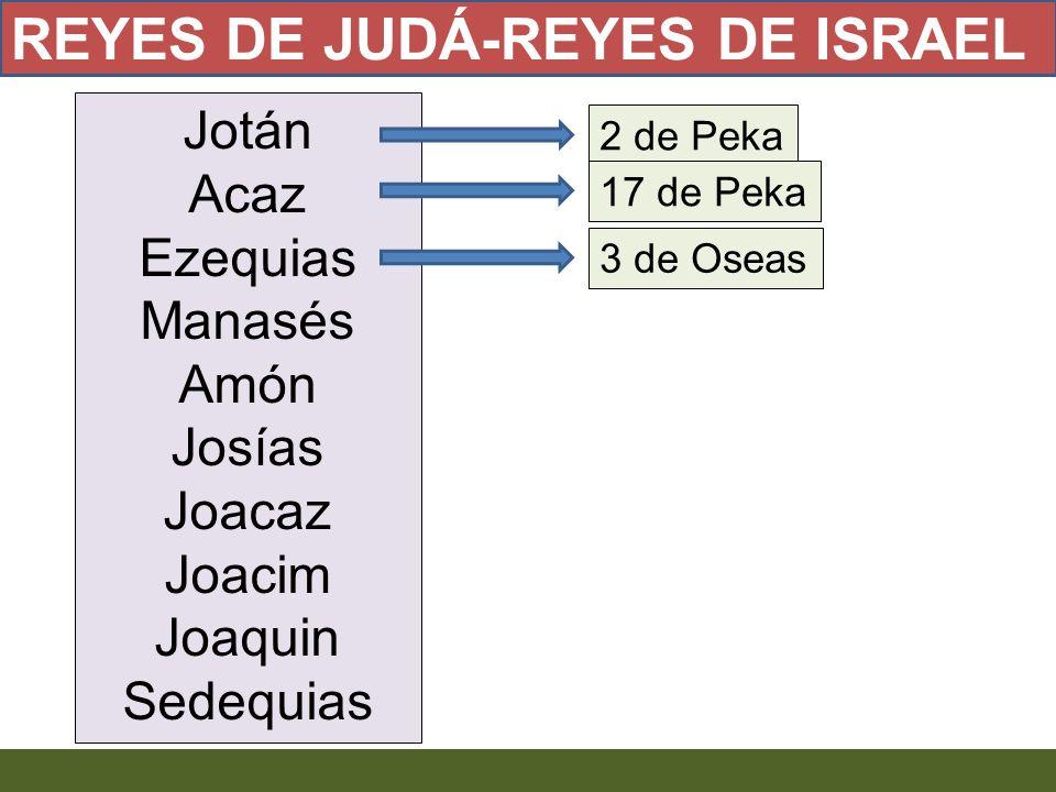 Jotán Acaz Ezequias Manasés Amón Josías Joacaz Joacim Joaquin Sedequias 2 de Peka 17 de Peka 3 de Oseas REYES DE JUDÁ-REYES DE ISRAEL