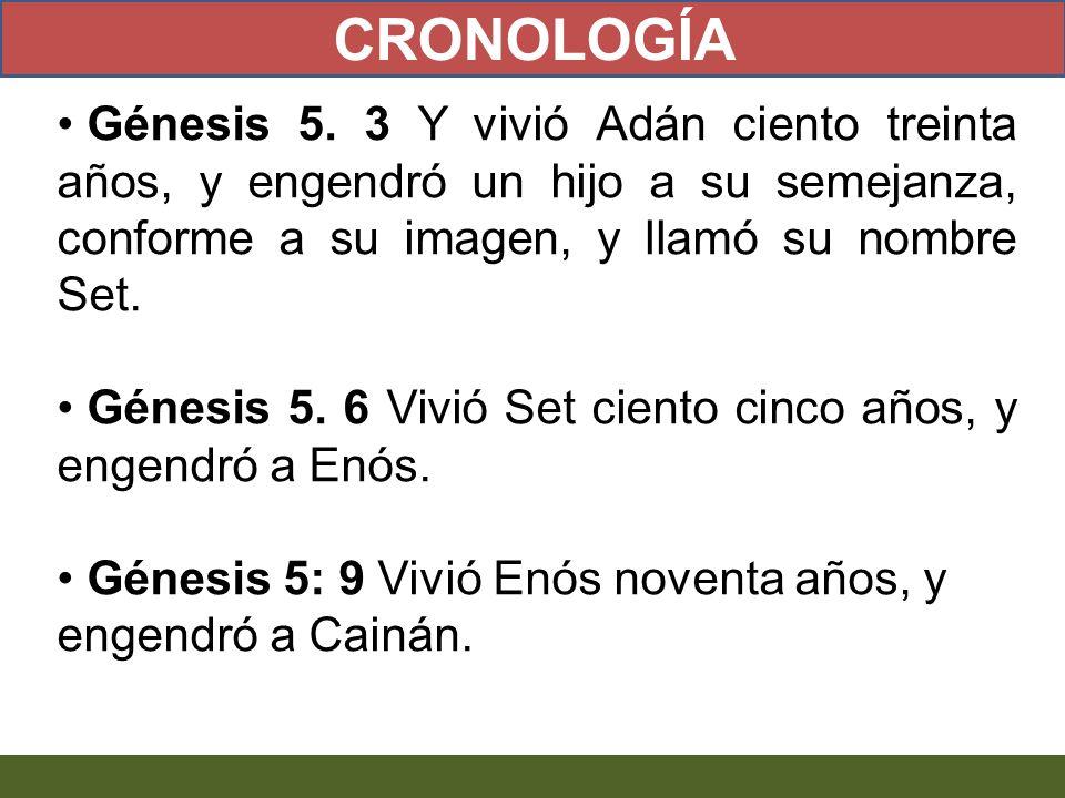 Génesis 5. 3 Y vivió Adán ciento treinta años, y engendró un hijo a su semejanza, conforme a su imagen, y llamó su nombre Set. Génesis 5. 6 Vivió Set
