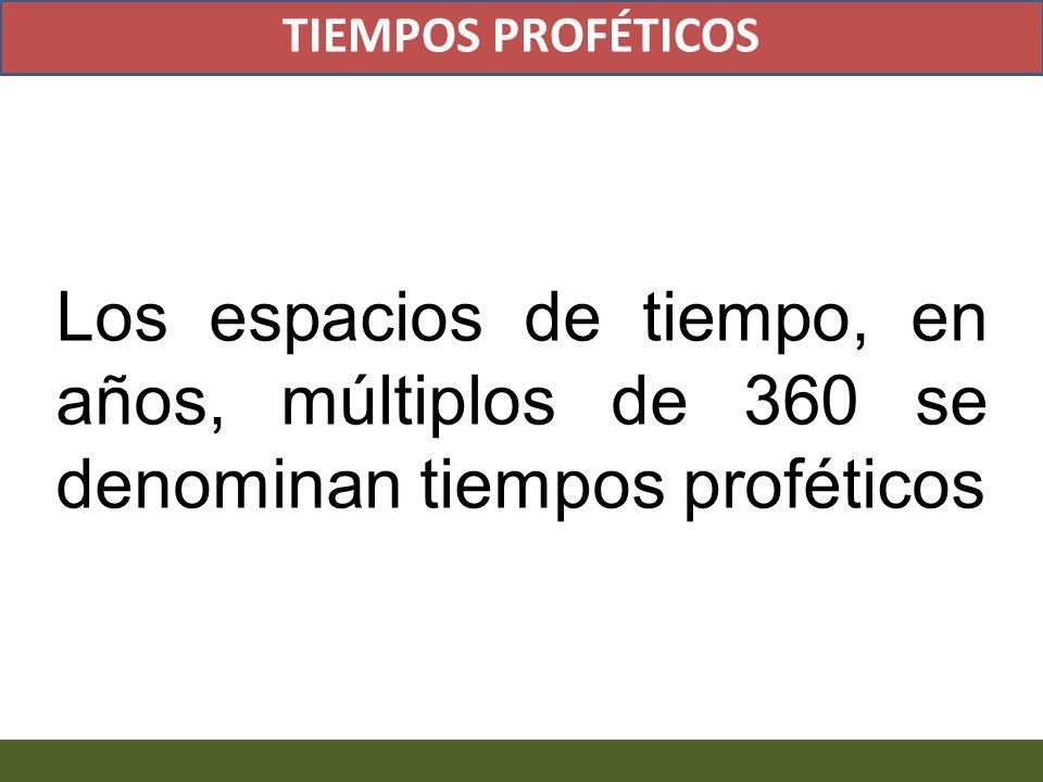 Los espacios de tiempo, en años, múltiplos de 360 se denominan tiempos proféticos TIEMPOS PROFÉTICOS
