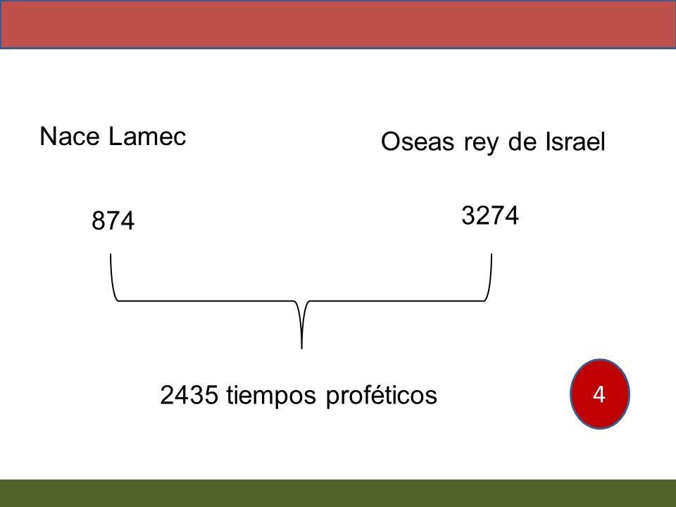 Nace Lamec Oseas rey de Israel 874 3274 2435 tiempos proféticos 4