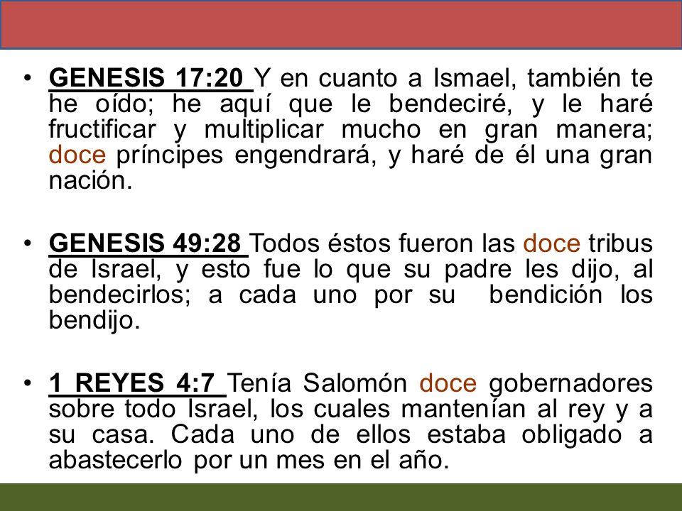 GENESIS 17:20 Y en cuanto a Ismael, también te he oído; he aquí que le bendeciré, y le haré fructificar y multiplicar mucho en gran manera; doce prínc