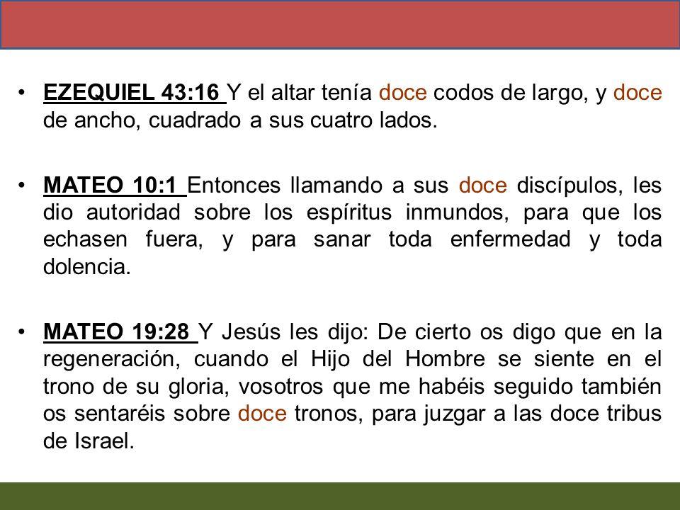 EZEQUIEL 43:16 Y el altar tenía doce codos de largo, y doce de ancho, cuadrado a sus cuatro lados. MATEO 10:1 Entonces llamando a sus doce discípulos,