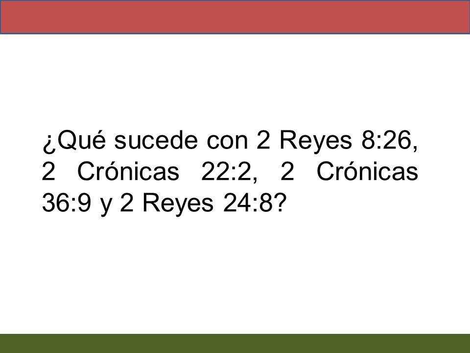 ¿Qué sucede con 2 Reyes 8:26, 2 Crónicas 22:2, 2 Crónicas 36:9 y 2 Reyes 24:8?