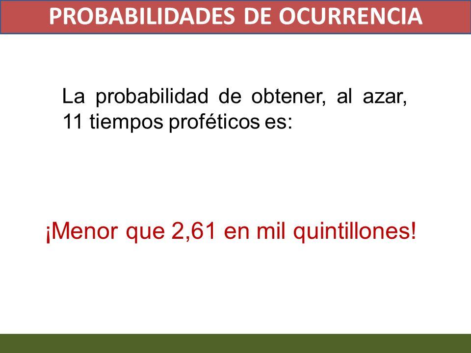 La probabilidad de obtener, al azar, 11 tiempos proféticos es: ¡Menor que 2,61 en mil quintillones! PROBABILIDADES DE OCURRENCIA