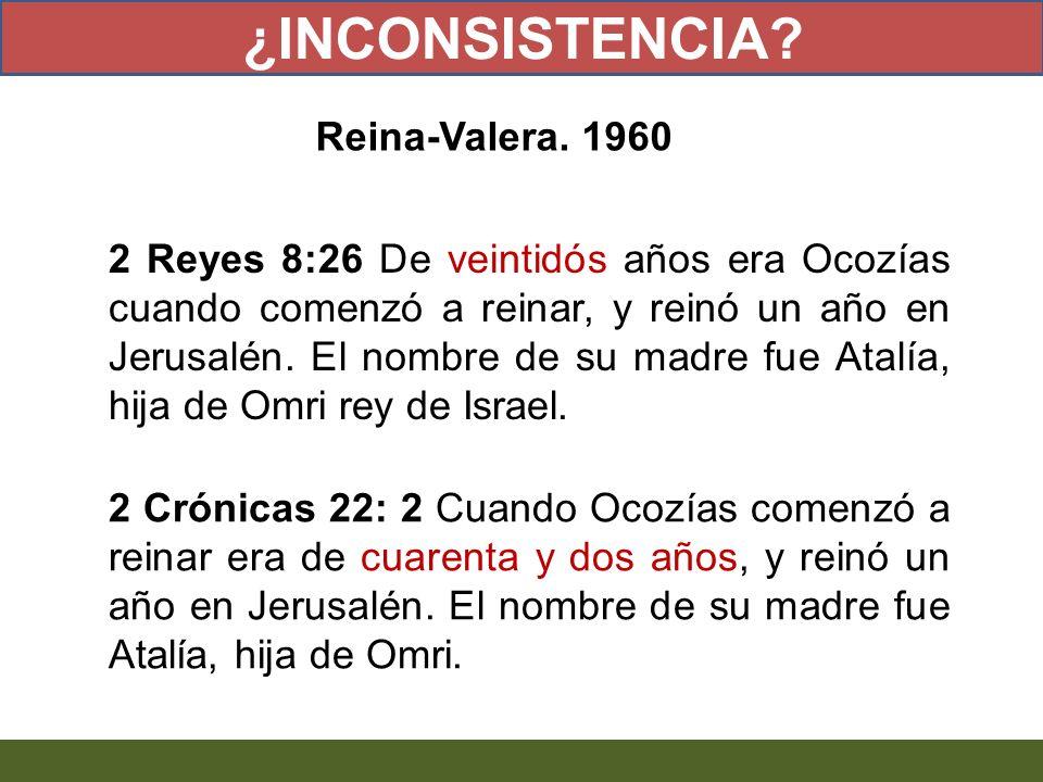 2 Reyes 8:26 De veintidós años era Ocozías cuando comenzó a reinar, y reinó un año en Jerusalén. El nombre de su madre fue Atalía, hija de Omri rey de