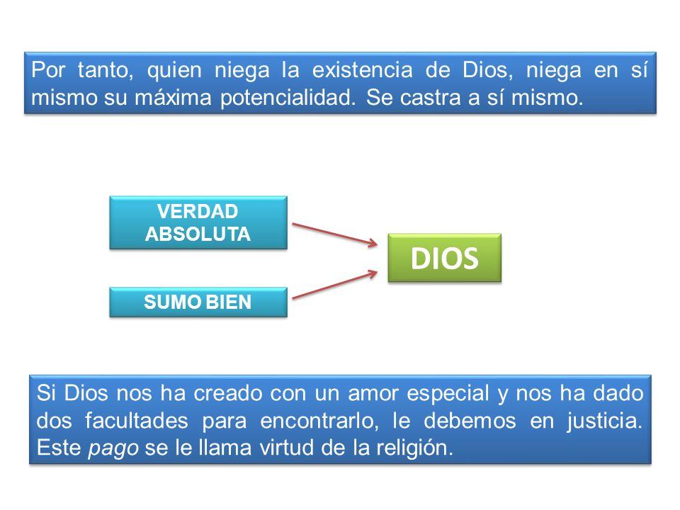 Por tanto, quien niega la existencia de Dios, niega en sí mismo su máxima potencialidad. Se castra a sí mismo. VERDAD ABSOLUTA SUMO BIEN DIOS Si Dios