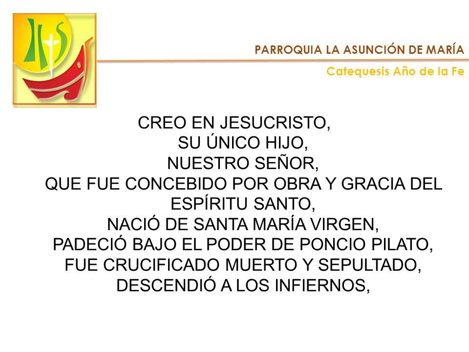 PARROQUIA LA ASUNCIÓN DE MARÍA Catequesis Año de la Fe CREO EN JESUCRISTO, SU ÚNICO HIJO, NUESTRO SEÑOR, QUE FUE CONCEBIDO POR OBRA Y GRACIA DEL ESPÍR