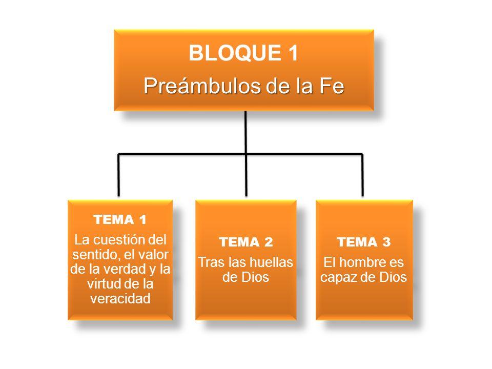 BLOQUE 1 Preámbulos de la Fe TEMA 1 La cuestión del sentido, el valor de la verdad y la virtud de la veracidad TEMA 1 La cuestión del sentido, el valo