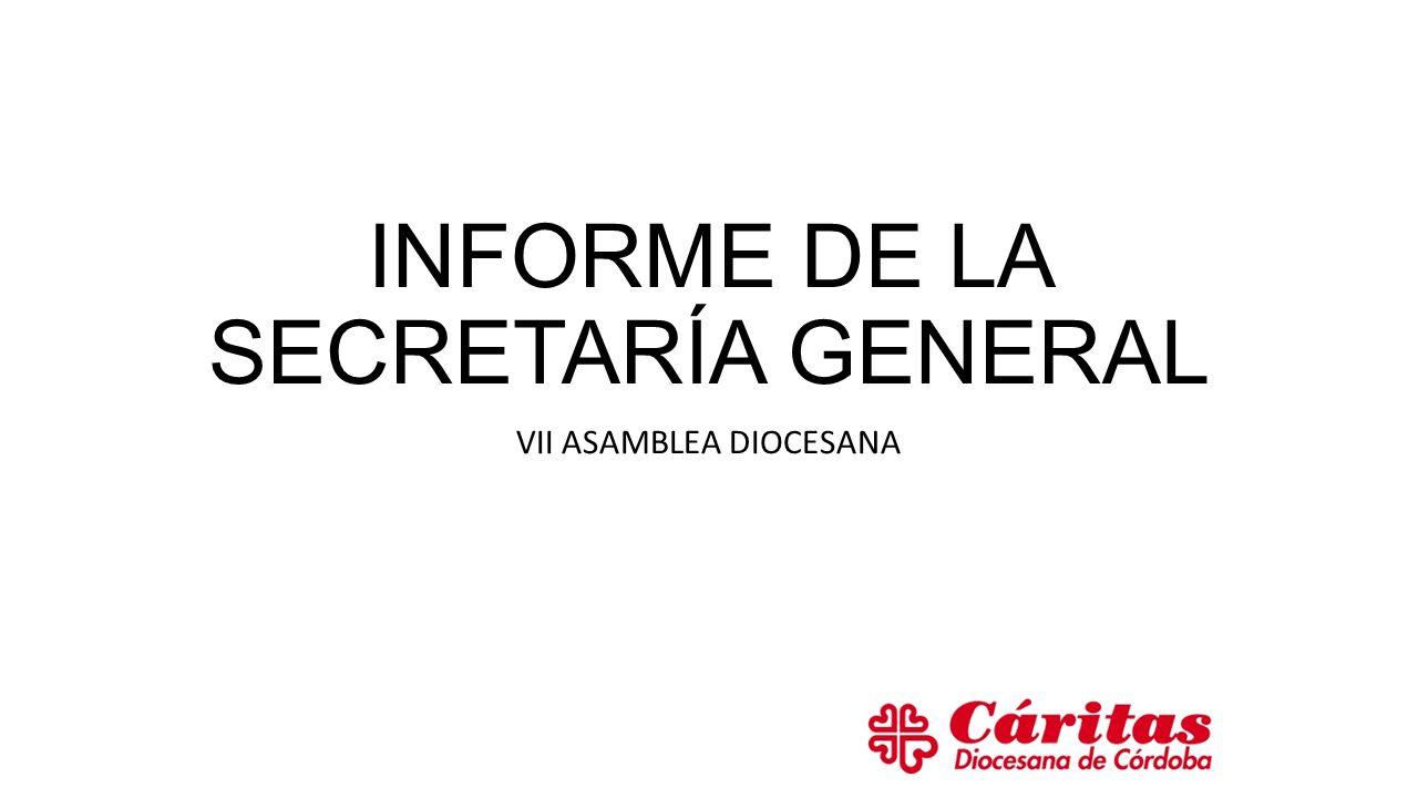 INFORME DE LA SECRETARÍA GENERAL VII ASAMBLEA DIOCESANA
