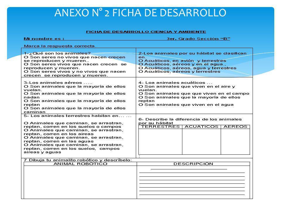 ANEXO N° 2 FICHA DE DESARROLLO