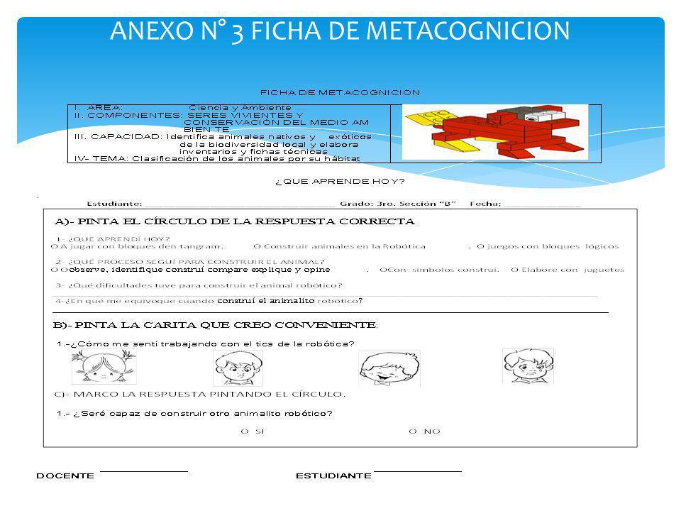 ANEXO N° 3 FICHA DE METACOGNICION