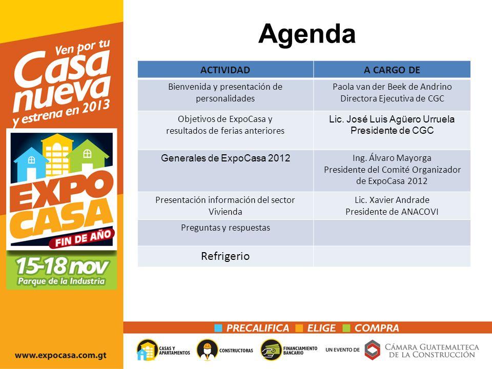 Agenda ACTIVIDADA CARGO DE Bienvenida y presentación de personalidades Paola van der Beek de Andrino Directora Ejecutiva de CGC Objetivos de ExpoCasa y resultados de ferias anteriores Lic.
