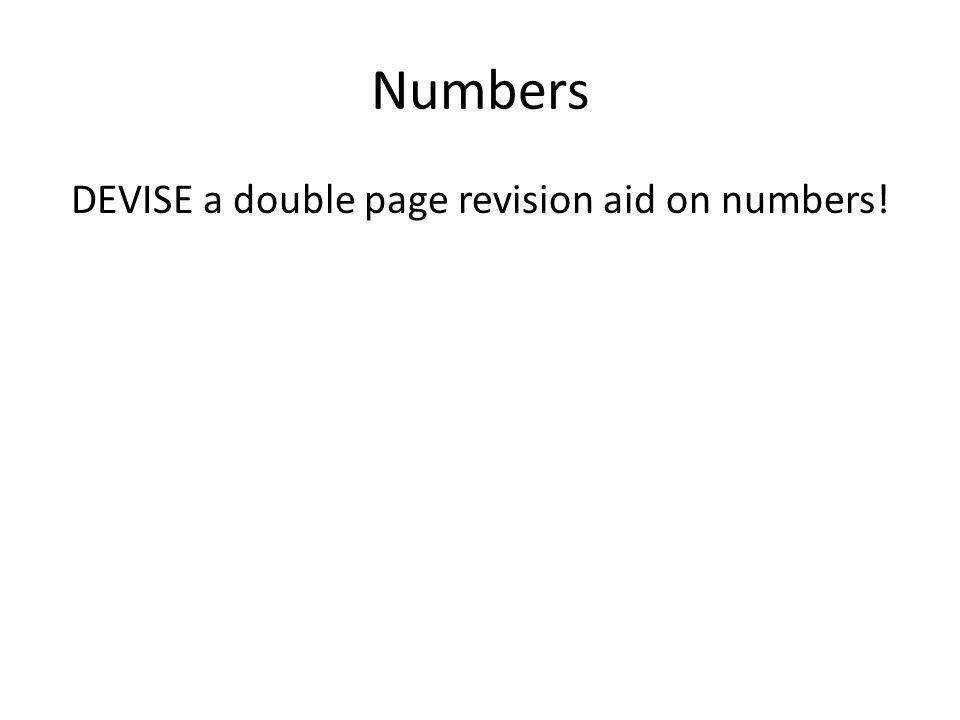 Numbers DEVISE a double page revision aid on numbers!