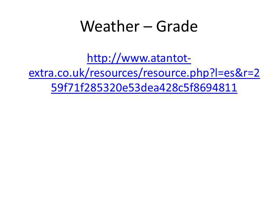 Weather – Grade http://www.atantot- extra.co.uk/resources/resource.php l=es&r=2 59f71f285320e53dea428c5f8694811