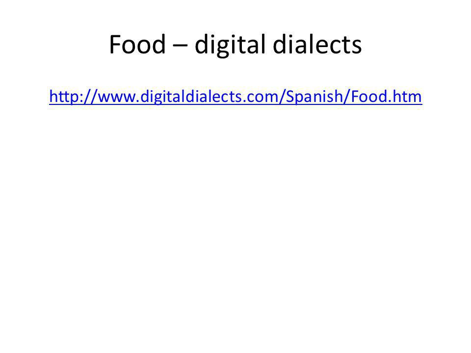 Food – digital dialects http://www.digitaldialects.com/Spanish/Food.htm