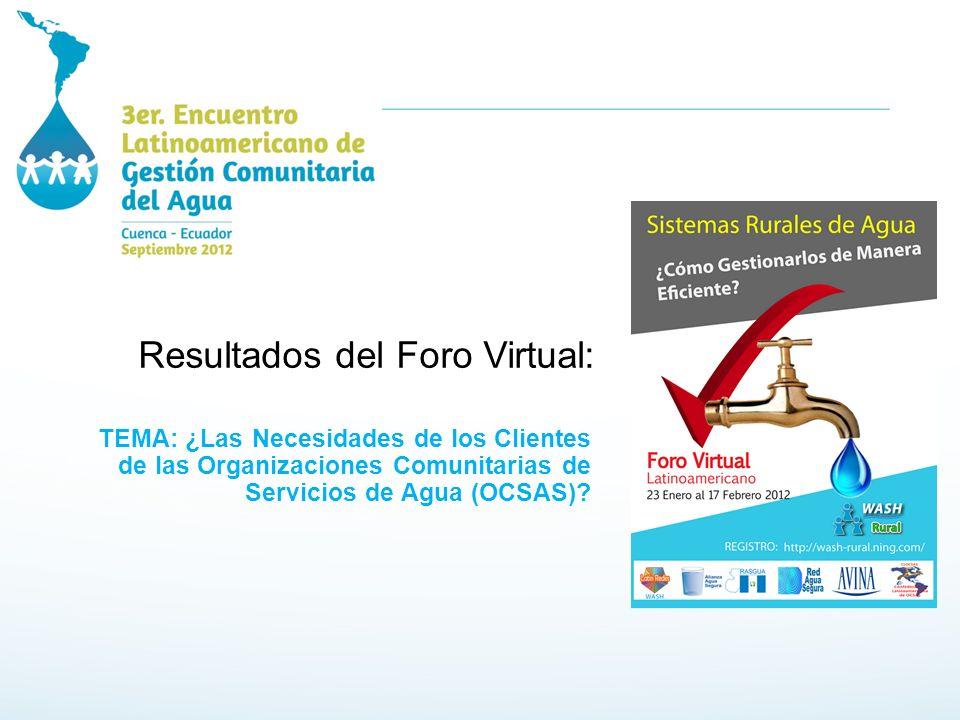 Resultados del Foro Virtual: TEMA: ¿Las Necesidades de los Clientes de las Organizaciones Comunitarias de Servicios de Agua (OCSAS)