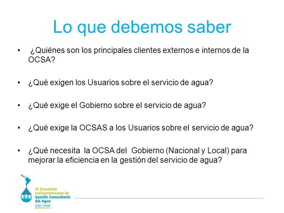 Lo que debemos saber ¿Quiénes son los principales clientes externos e internos de la OCSA.