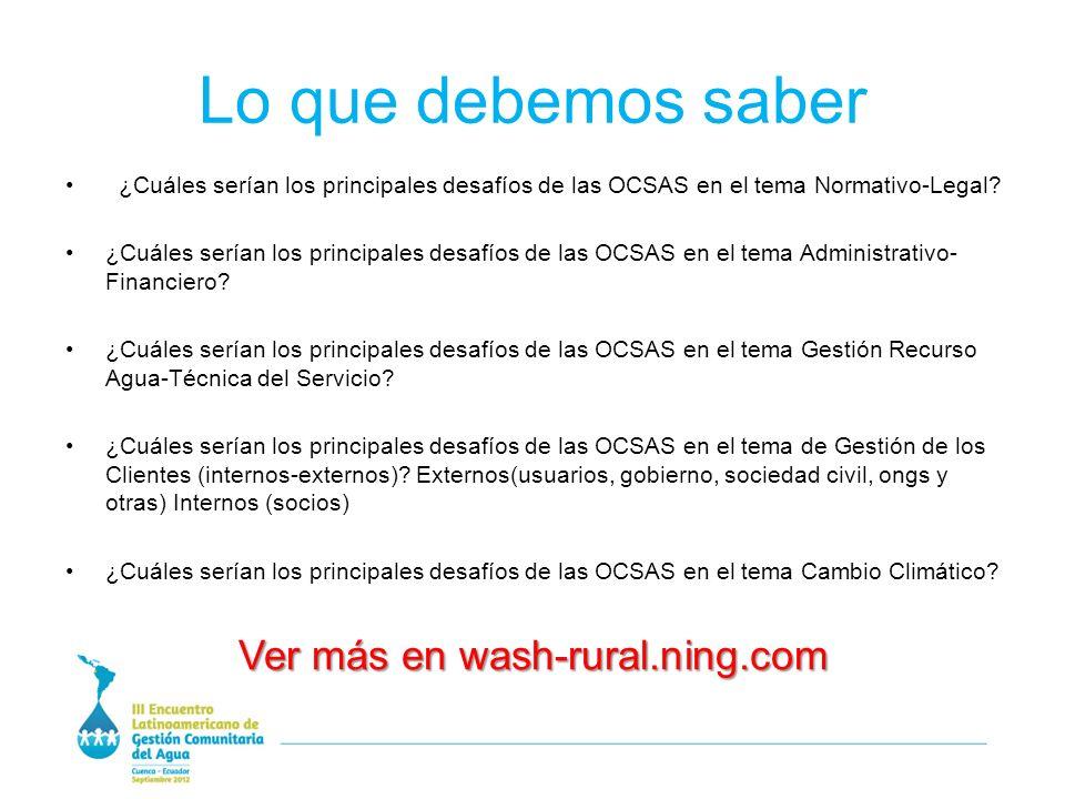 Lo que debemos saber ¿Cuáles serían los principales desafíos de las OCSAS en el tema Normativo-Legal.
