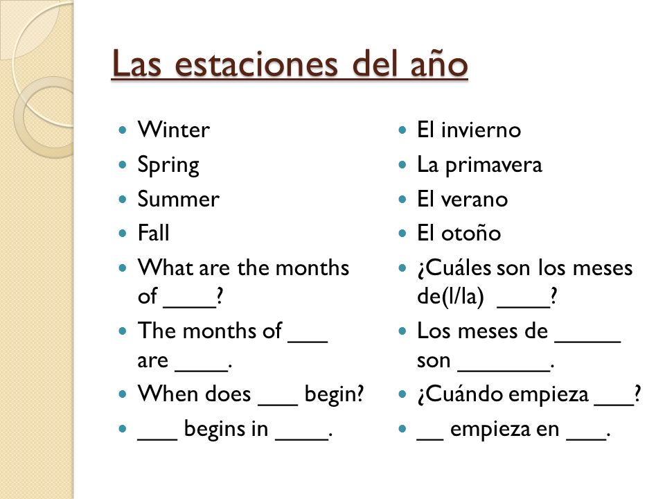 Las estaciones del año Winter Spring Summer Fall What are the months of ____? The months of ___ are ____. When does ___ begin? ___ begins in ____. El